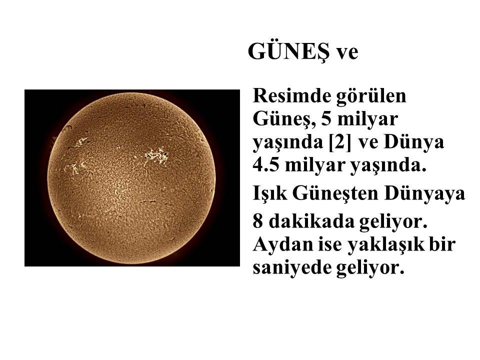 GÜNEŞ ve Resimde görülen Güneş, 5 milyar yaşında [2] ve Dünya 4.5 milyar yaşında. Işık Güneşten Dünyaya.